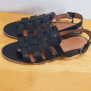 Coach Black Leather Strappy Sandals